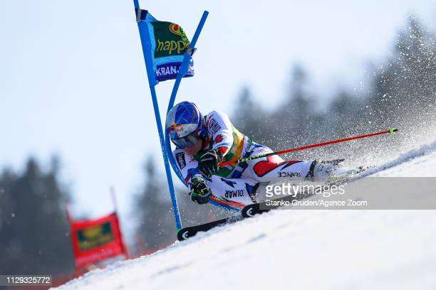 Alexis Pinturault of France competes during the Audi FIS Alpine Ski World Cup Men's Giant Slalom on March 9 2019 in Kranjska Gora Slovenia