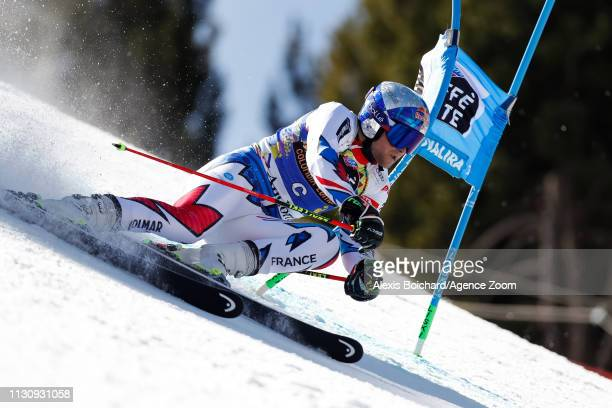 Alexis Pinturault of France competes during the Audi FIS Alpine Ski World Cup Men's Giant Slalom and Women's Slalom on March 16 2019 in Soldeu Andorra