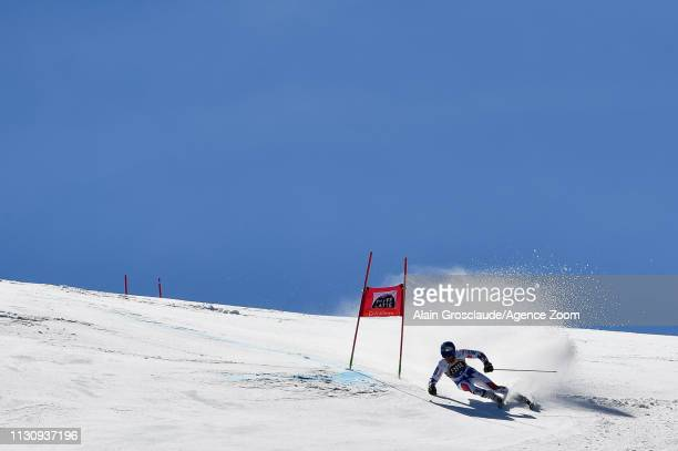 Alexis Pinturault of France competes during the Audi FIS Alpine Ski World Cup Men's Giant Slalom and Women's Slalom on March 16, 2019 in Soldeu...