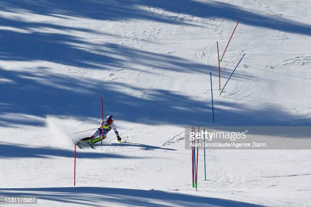 Alexis Pinturault of France competes during the Audi FIS Alpine Ski World Cup Men's Slalom and Women's Giant Slalom on March 17, 2019 in Soldeu...
