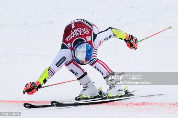 Alexis Pinturault of France competes during the Audi FIS Alpine Ski World Cup Men's Giant Slalom on March 20, 2021 in Lenzerheide, Switzerland.