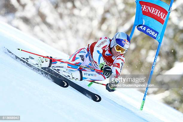 Alexis Pinturault of France competes during the Audi FIS Alpine Ski World Cup Men's Giant Slalom on March 04 2016 in Kranjska Gora Slovenia