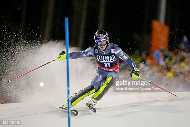 Alexis Pinturault of France competes during the Audi FIS Alpine Ski World Cup Men's Slalom on December 22, 2016 in Madonna di Campiglio, Italy