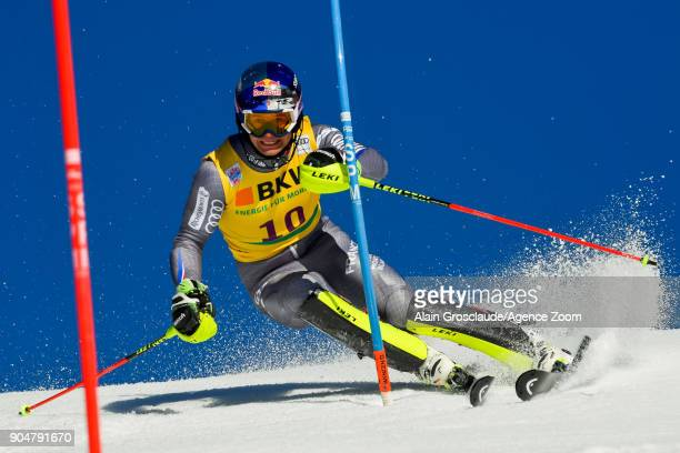 Alexis Pinturault of France competes during the Audi FIS Alpine Ski World Cup Men's Slalom on January 14 2018 in Wengen Switzerland