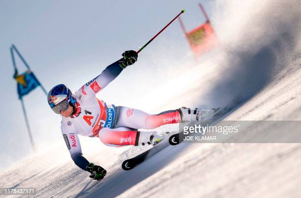 TOPSHOT Alexis Pinturault of France competes in the men's Giant Slalom event of the FIS ski alpine world cup opening in Soelden Austria on October 27...