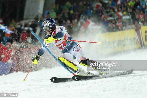Alexis Pinturault of France competes in the second run during the Audi FIS Alpine Ski World Cup - Men's Slalom on January 28, 2020 in Schladming,...