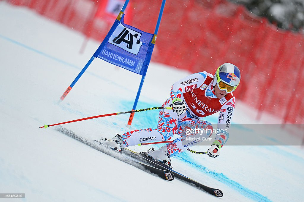 Alexis Pinturault of France competes in the Super G stage on the Hahnenkamm Course during the Audi FIS Alpine Ski World Cup Super Combined race on January 26, 2013 in Kitzbuhel, Austria.