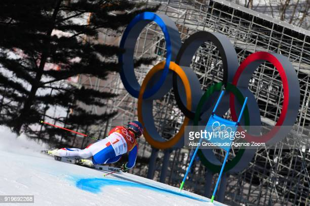 Alexis Pinturault of France in action during the Alpine Skiing Men's Giant Slalom at Yongpyong Alpine Centre on February 18, 2018 in Pyeongchang-gun,...