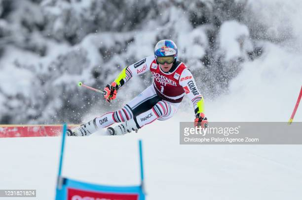Alexis Pinturault of France in action during the Audi FIS Alpine Ski World Cup Men's Giant Slalom on March 20, 2021 in Lenzerheide, Switzerland.