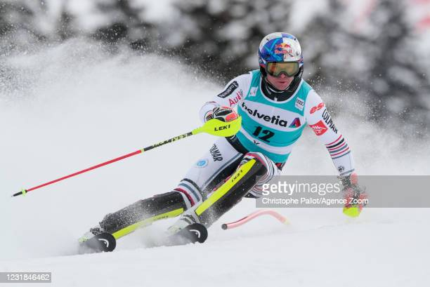 Alexis Pinturault of France in action during the Audi FIS Alpine Ski World Cup Men's Slalom on March 21, 2021 in Lenzerheide, Switzerland.