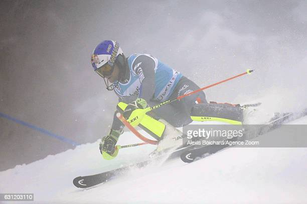Alexis Pinturault of France in action during the Audi FIS Alpine Ski World Cup Men's Slalom on January 08 2017 in Adelboden Switzerland