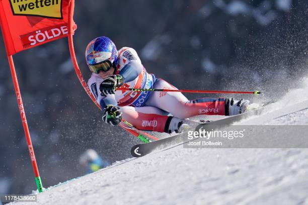 Alexis Pinturault of France in the second run of the Audi FIS Alpine Ski World Cup - Men's Giant Slalom on October 27, 2019 in Soelden, Austria.