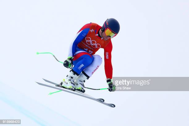 Alexis Pinturault of France makes a run during the Men's Downhill Alpine Skiing training at Jeongseon Alpine Centre on February 9 2018 in...