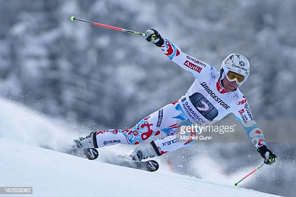 Alexis Pinturault of France races down the course whilst competing in the Audi FIS Alpine Ski World Cup Men's Giant Slalom on February 24 2013 in...