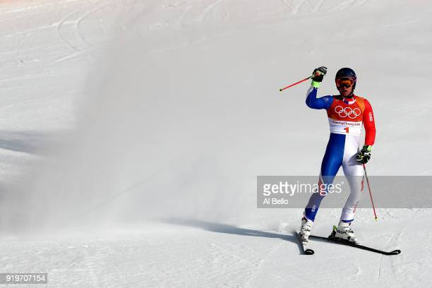 Alexis Pinturault of France reacts at the finish during the Alpine Skiing Men's Giant Slalom on day nine of the PyeongChang 2018 Winter Olympic Games...