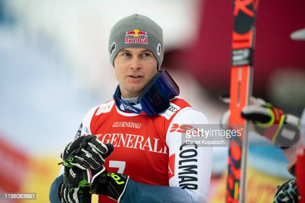 Alexis Pinturault of France reacts in the finish area after run 2 of the Audi FIS alpine ski world cup men's giant slalom on February 2 2020 in...