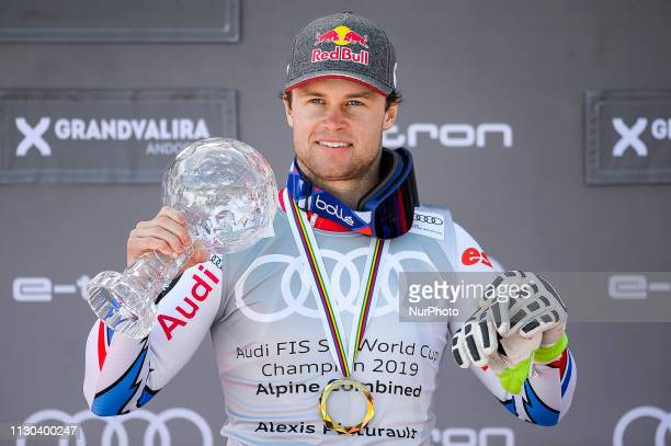 Alexis Pinturault of France Ski Team wining the Cristal Globe of Mens Alpine Combined Audi FIS Ski World Cup podium on March 14 2019 in El Tarter...