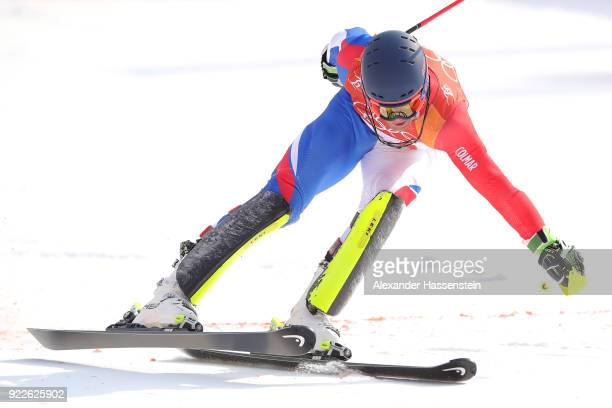 Alexis Pinturault of France skis into the finish area during the Men's Slalom on day 13 of the PyeongChang 2018 Winter Olympic Games at Yongpyong...
