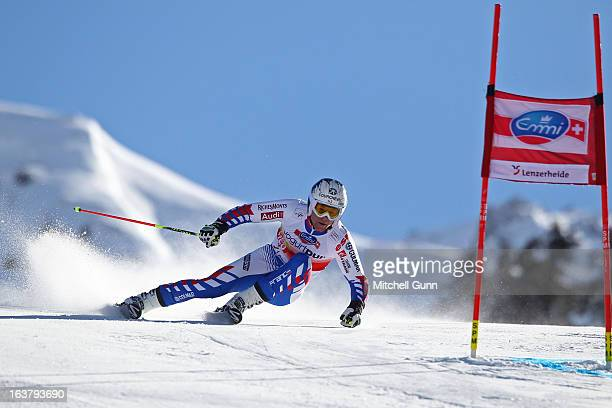 Alexis Pinturault of France speeds down the course whilst competing in the Audi FIS Alpine Skiing World Cup Finals giant slalom race on March 16 2013...