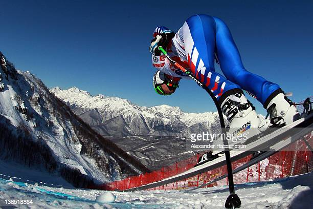 Alexis Pinturault of France starts for the Men's Downhill Training at the Audi FIS World Cup on February 8, at Rosa Khutor Mountain Resort in Sochi,...