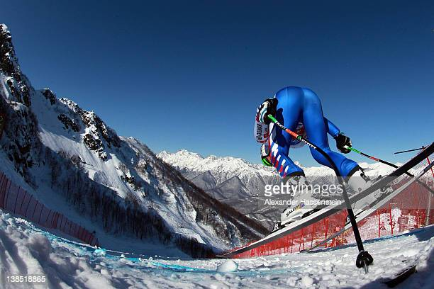 Alexis Pinturault of France starts for the Men's Downhill Training at the Audi FIS World Cup on February 8 at Rosa Khutor Mountain Resort in Sochi...
