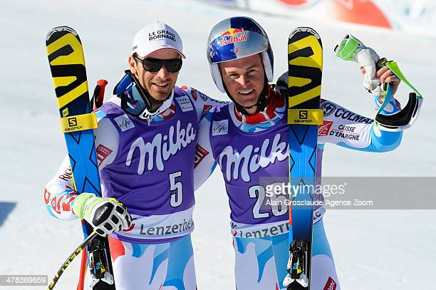 Alexis Pinturault of France takes 1st place and Thomas MermillodBlondin of France takes 2nd place during the Audi FIS Alpine Ski World Cup Finals...