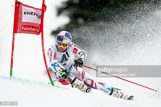 Alexis Pinturault of France takes 1st place during the Audi FIS Alpine Ski World Cup Men's Giant Slalom on February 268 2016 in Hinterstoder Austria