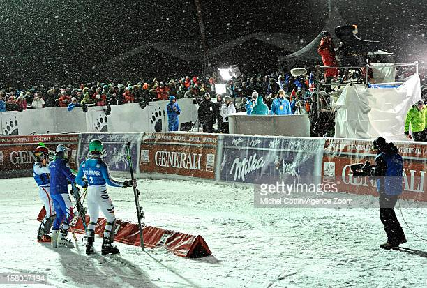 Alexis Pinturault of France takes 1st place Felix Neureuther of Germany takes 2nd place Marcel Hirscher of Austria takes 3rd place competes during...
