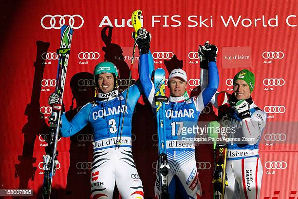 Alexis Pinturault of France takes 1st place Felix Neureuther of Germany takes 2nd place Marcel Hirscher of Austria takes 3rd place during the Audi...