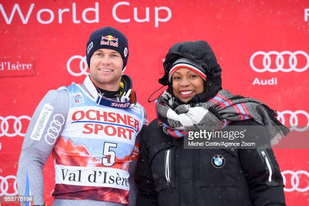 Alexis Pinturault of France takes 1st place French Minister of Sports Laura Flessel during the Audi FIS Alpine Ski World Cup Men's Giant Slalom on...