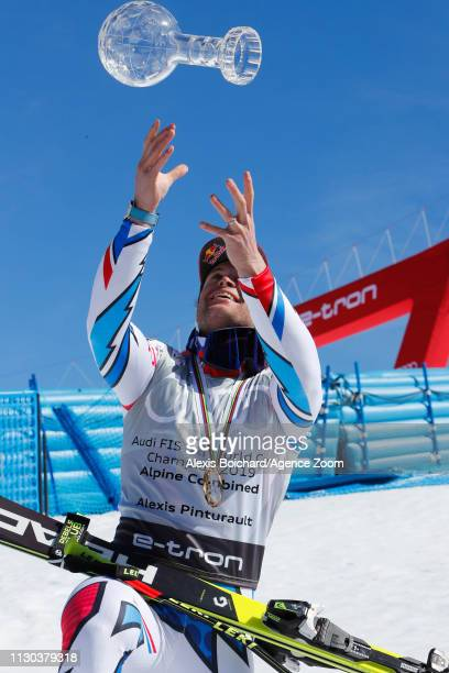 Alexis Pinturault of France takes 1st place in the overall standings during the Audi FIS Alpine Ski World Cup Men's Alpine Combined on March 14 2019...