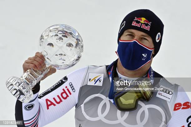 Alexis Pinturault of France takes 1st place in the overall standings during the Audi FIS Alpine Ski World Cup Men's Giant Slalom on March 20, 2021 in...
