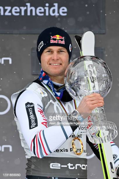 Alexis Pinturault of France takes 1st place in the overall standings during the Audi FIS Alpine Ski World Cup Men's on March 21, 2021 in Lenzerheide,...