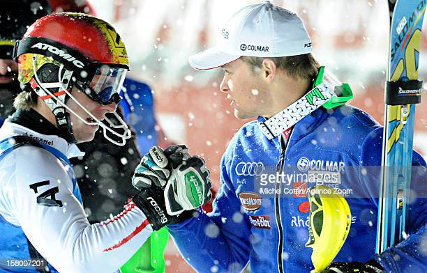 Alexis Pinturault of France takes 1st place Marcel Hirscher of Austria takes 3rd place during the Audi FIS Alpine Ski World Cup Men's Slalom December...