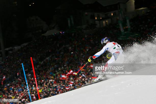 Alexis Pinturault of France takes 2nd place during the Audi FIS Alpine Ski World Cup Men's Slalom on January 29, 2019 in Schladming Austria.