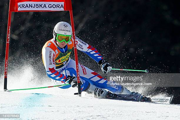 Alexis Pinturault of France takes 2nd place during the Audi FIS Alpine Ski World Cup Men's Giant Slalom on March 10 2012 in Kranjska Gora Slovenia