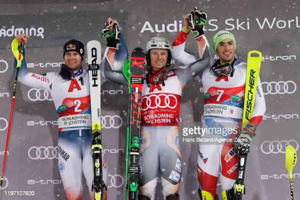 Alexis Pinturault of France takes 2nd place Henrik Kristoffersen of Norway takes 1st place Daniel Yule of Switzerland takes 3rd place during the Audi...