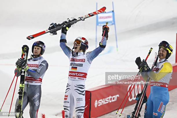 Alexis Pinturault of France takes 2nd place Linus Strasser of Germany takes 1st place Mattias Hargin of Sweden takes 3rd place during the Audi FIS...