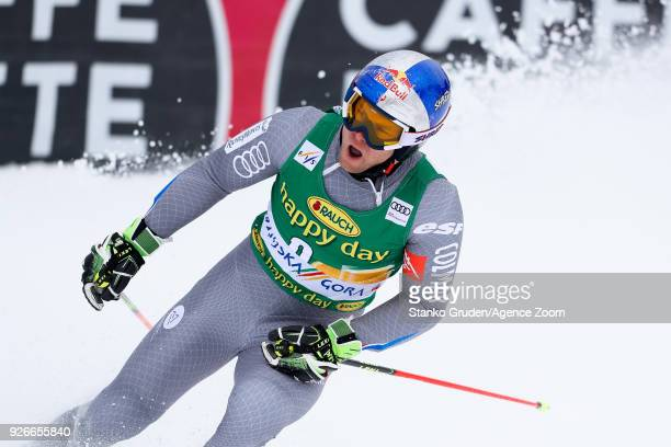 Alexis Pinturault of France takes 3rd place during the Audi FIS Alpine Ski World Cup Men's Giant Slalom on March 3 2018 in Kranjska Gora Slovenia
