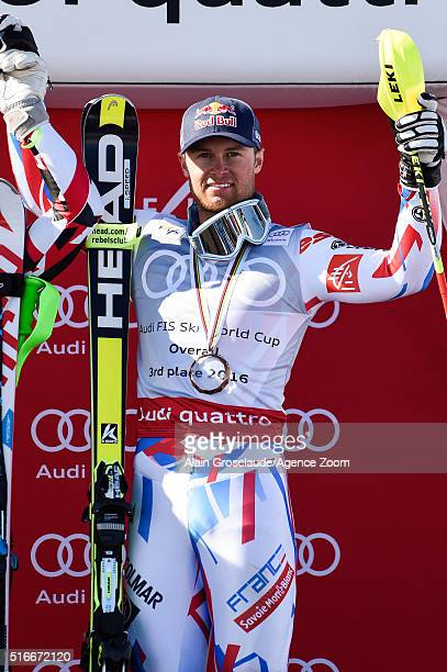 Alexis Pinturault of France takes 3rd place in the Overall World Cup standings during the Audi FIS Alpine Ski World Cup Finals Men's Slalom and...