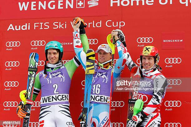 Alexis Pinturault of France takes the 1st place Felix Neureuther of Germany takes the 2nd place and Marcel Hirscher of Austria takes the 3rd place...