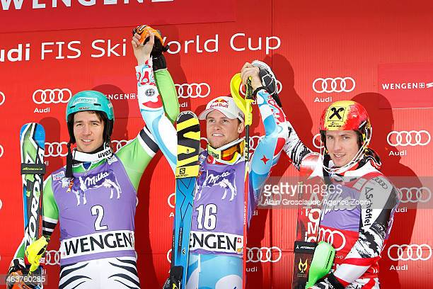 Alexis Pinturault of France takes the 1st placeFelix Neureuther of Germany takes the 2nd placeMarcel Hirscher of Austria takes the 3rd place during...