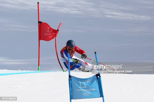 Alexis Pinturault of France wins the bronze medal during the Alpine Skiing Men's Giant Slalom at Yongpyong Alpine Centre on February 18 2018 in...