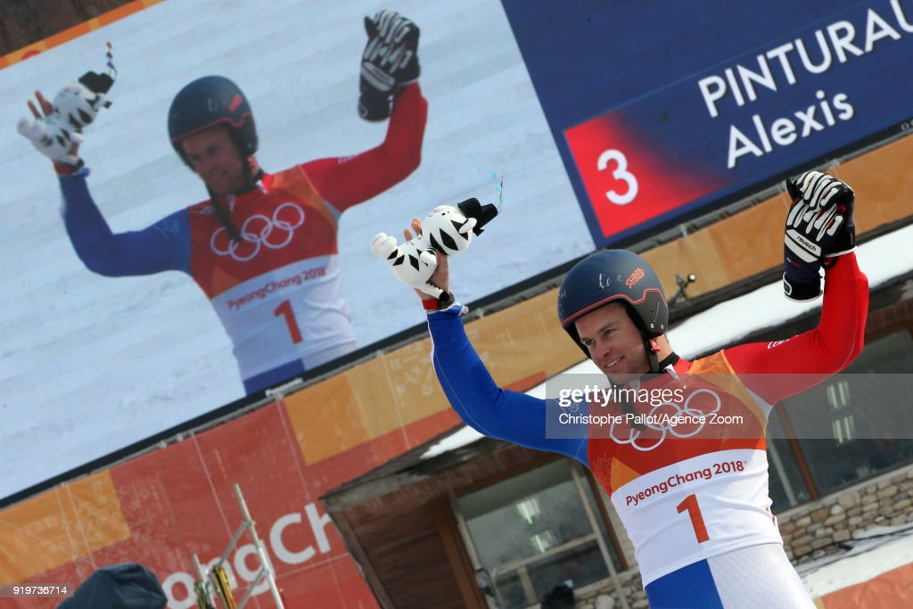 Alexis Pinturault of France wins the bronze medal during the Alpine Skiing Men's Giant Slalom at Yongpyong Alpine Centre on February 18, 2018 in Pyeongchang-gun, South Korea.