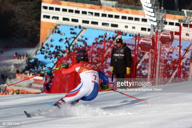 Alexis Pinturault of France wins the gold medal during the Alpine Skiing Men's Combined at Jeongseon Alpine Centre on February 13 2018 in...