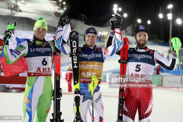 Alexis Pinturault of France wins the gold medal Stefan Hadalin of Slovenia wins the silver medal Marco Schwarz of Austria wins the bronze medal...