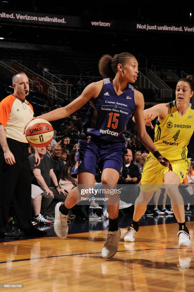 Alexis Prince #15 of the Phoenix Mercury handles the ball against the Seattle Storm during a preseason game on May 7, 2017 at Talking Stick Resort Arena in Phoenix, Arizona.