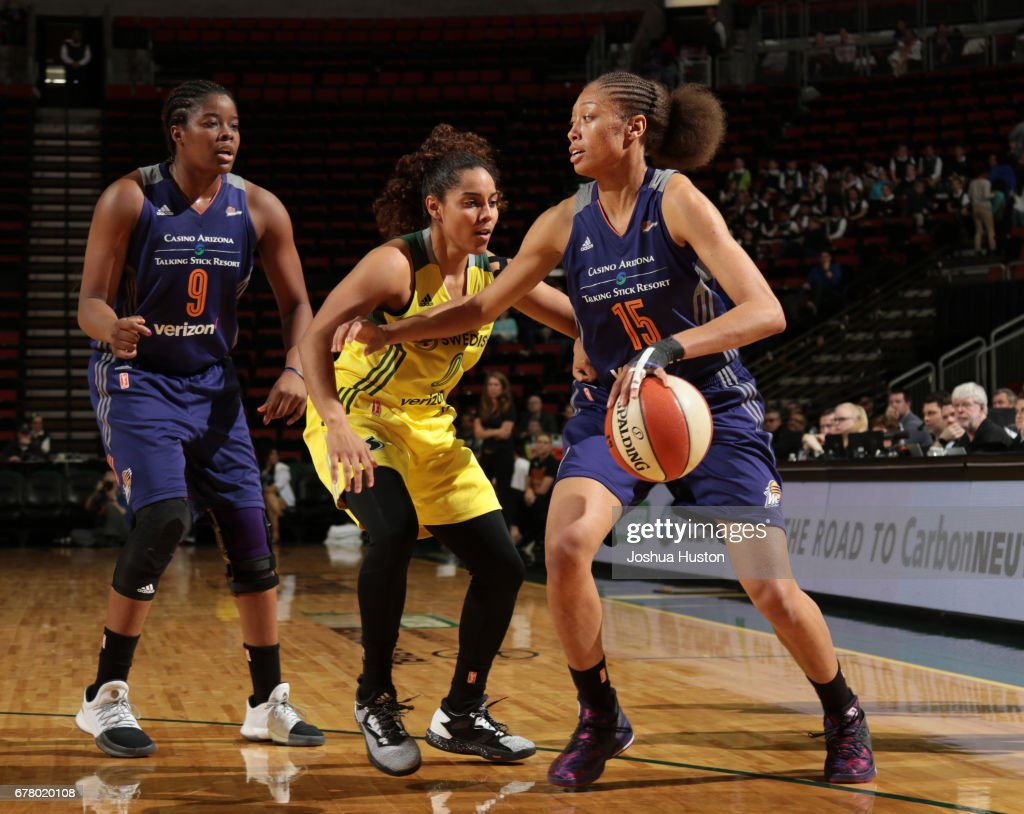 Alexis Prince #15 of the Phoenix Mercury handles the ball during a game against the Seattle Storm on May 3, 2017 at Key Arena in Seattle, Washington.