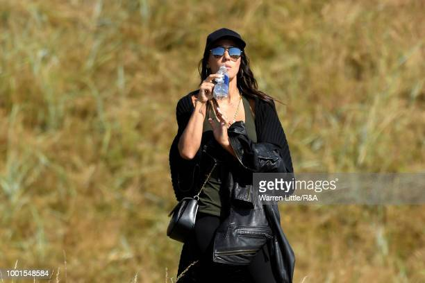 Alexis Randock girlfriend of Rickie Fowler of the United States seen during round one of the 147th Open Championship at Carnoustie Golf Club on July...