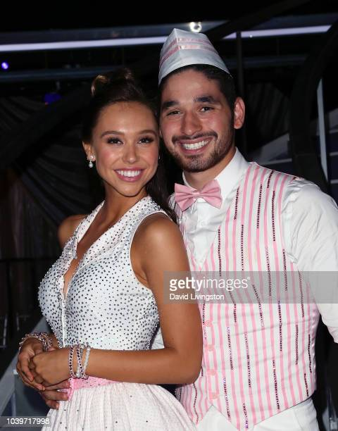 Alexis Ren and Alan Bersten pose at Dancing with the Stars Season 27 at CBS Televison City on September 24 2018 in Los Angeles California